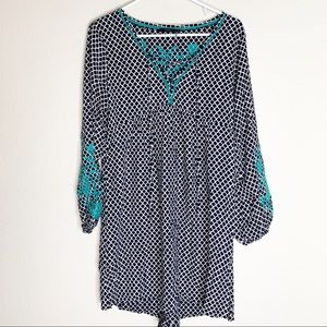 Thml Navy Print Green Embroidered Dress
